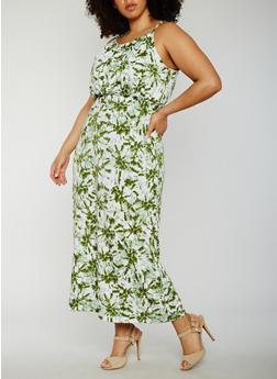 Plus Size Sleeveless Tie Dye Maxi Dress - OLIVE - 0390038347947