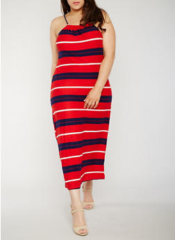 Plus Size Sleeveless Americana Maxi Dress - 0390038347952