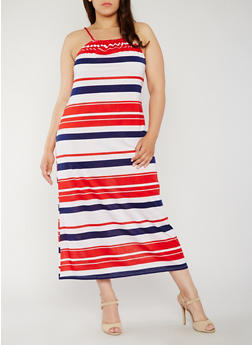 Plus Size Americana Striped Maxi Dress - 0390038347953