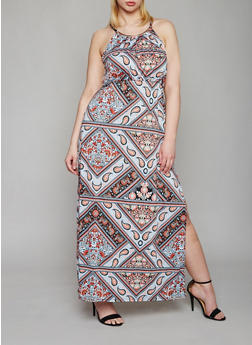 Plus Size Printed Maxi Dress with Medal Collar Detail - 0390038347966