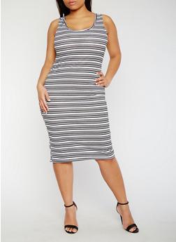 Plus Size Striped Rib Knit Tank Dress - 0390038347967