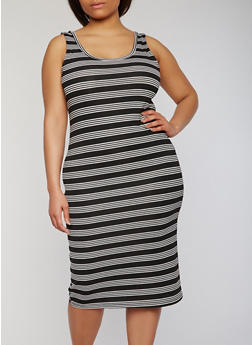 Plus Size Striped Mid Length Tank Dress - 0390038347973