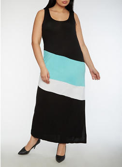 Plus Size Color Block Maxi Dress - 0390038347978