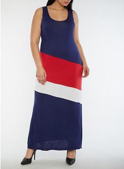 Plus Size Color Block Maxi Dress - 0390038347978