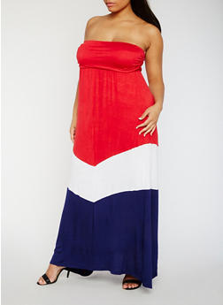Plus Size Strapless Color Block Maxi Dress - 0390038347980
