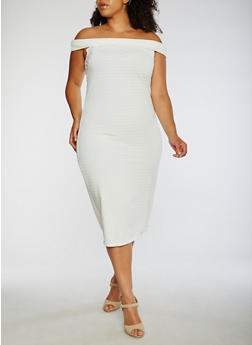 Plus Size Off the Shoulder Midi Dress - WHITE - 0390038347988