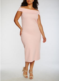 Plus Size Off the Shoulder Midi Dress - 0390038347988