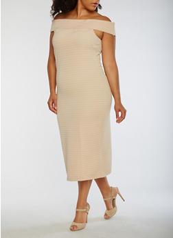 Plus Size Off the Shoulder Midi Dress - 0390038347988
