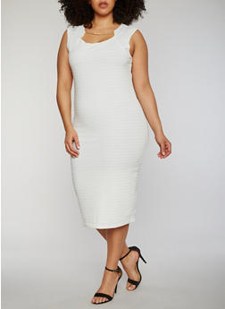 Plus Size Sleeveless Midi Dress with Chain Link Neckline Detail - IVORY - 0390038347991