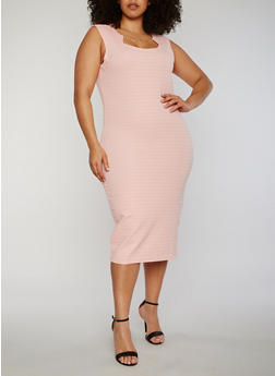 Plus Size Sleeveless Midi Dress with Chain Link Neckline Detail - 0390038347991