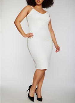 Plus Size Spaghetti Strap Bandage Dress - IVORY - 0390038347992