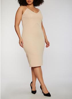 Plus Size Spaghetti Strap Bandage Dress - 0390038347992