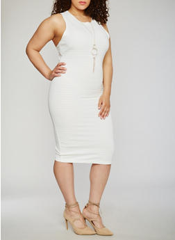 Plus Size Sleeveless Bandage Dress with Necklace - IVORY - 0390038347994
