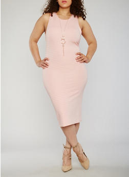 Plus Size Sleeveless Bandage Dress with Necklace - 0390038347994