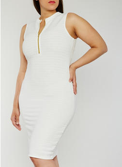 Plus Size Sleeveless Half Zip Bandage Dress - IVORY - 0390038347995