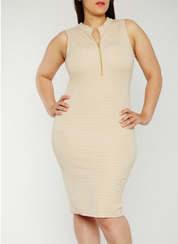 Plus Size Sleeveless Half Zip Bandage Dress - 0390038347995