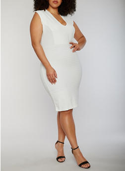 Plus Size V Neck Mid Length Bandage Dress - IVORY - 0390038347997