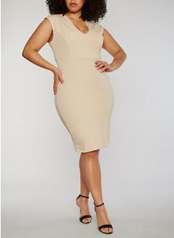 Plus Size V Neck Mid Length Bandage Dress - 0390038347997