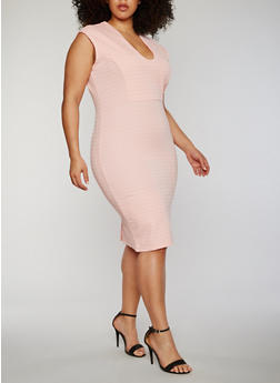 Plus Size V Neck Mid Length Bandage Dress - 0390038347997