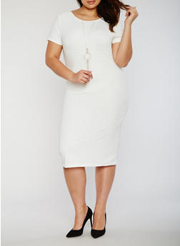 Plus Size Midi Bandage Dress with Necklace - 0390038347999