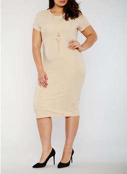 Plus Size Midi Bandage Dress with Necklace - 0390038347999