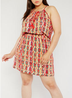 Plus Size Printed Tank Dress with Rope Tie Front - 0390038348706