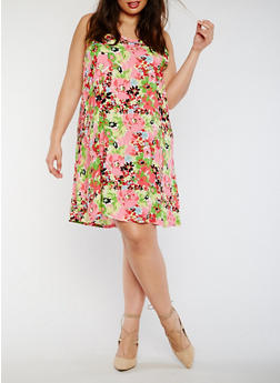 Plus Size Sleeveless Printed Shift Dress - 0390038348708
