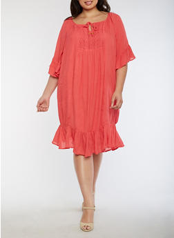 Plus Size Off the Shoulder Peasant Dress - 0390038348712