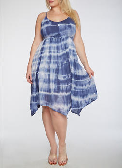Plus Size Tie Dye Dress - 0390038348715