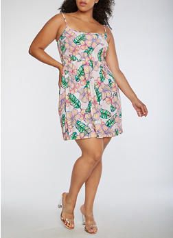 Plus Size Smocked Floral Tank Dress - 0390038348717