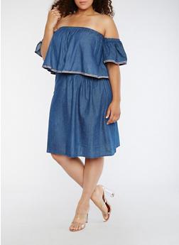 Plus Size Off the Shoulder Overlay Denim Dress - 0390038348718