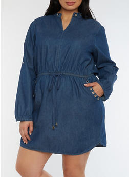 Plus Size Denim Dress with Tie Waist - 0390038348755