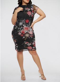Plus Size Floral Mesh Dress - 0390038348767