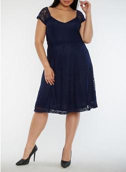 Plus Size Lace Skater Dress - 0390038348880