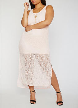 Plus Size Lace Maxi Tank Dress with Necklace - 0390038348882