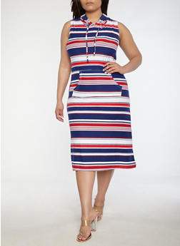 Plus Size Soft Knit Striped Maxi Dress - 0390038348931