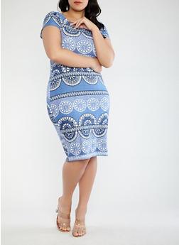 Plus Size Printed Soft Knit T Shirt Dress - 0390038348955