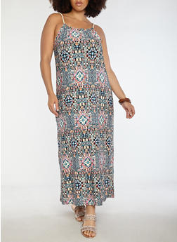 Plus Size Printed Soft Knit Maxi Dress - 0390038348991