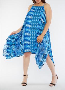 Plus Size Printed Asymmetrical Tank Dress - 0390038349709