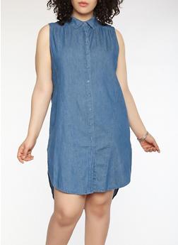 Plus Size Denim Button Front Dress - 0390038349726