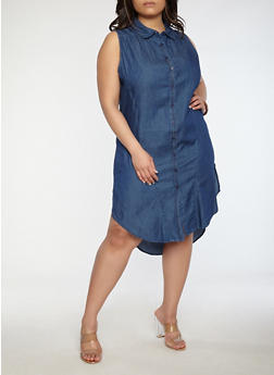 Plus Size Denim Button Front Dress - 0390038349726