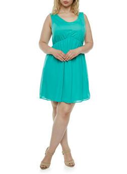 Plus Textured Knit Dress with Chiffon Skirt - 0390051062584