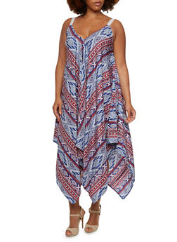 Plus Size Oversize Shift Dress in Ornate Print - 0390051062695