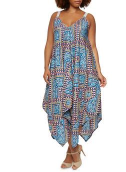 Plus Size Oversize Shift Dress in Ornate Print - BLUE - 0390051062695