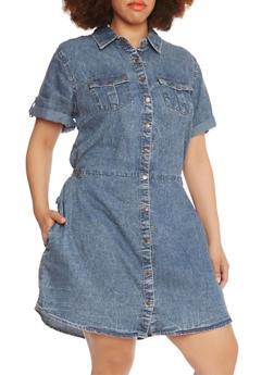 Plus Size Acid-Wash Shirt Dress with Four Pockets - 0390051062723