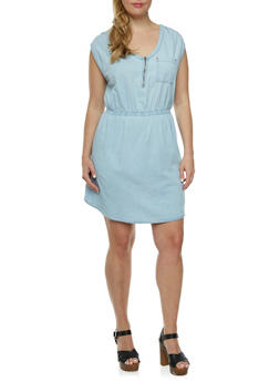 Plus Size Sleeveless Denim Dress with Chest Pocket - 0390051062755