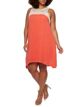 Plus Size Sleeveless Dress with Crochet Trim - 0390051062760