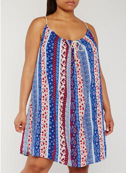 Plus Size Sleeveless Printed Rope Tie Sundress - BLUE PTN - 0390051062915