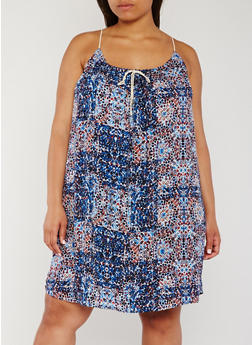 Plus Size Sleeveless Printed Rope Tie Sundress - BLUE - 0390051062915