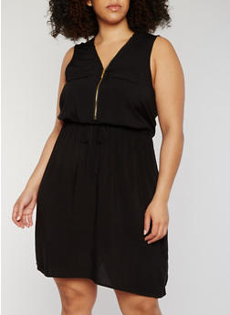 Plus Size Front Zip Sleeveless Dress with Drawstring - 0390051062930